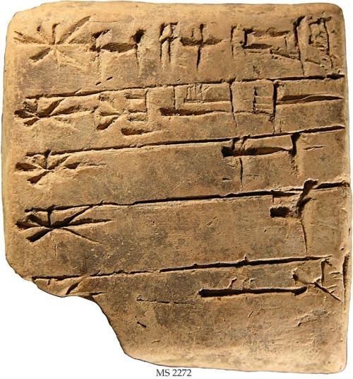Tablilla de arcilla de hace 4.400 años con un listado de dioses sumerios / Colección Schøyen